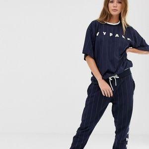 IVY PARK Baseball Pinstripe Boyfriend Fit T-Shirt